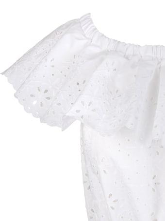 Parosh Broderie Anglaise Flared Dress