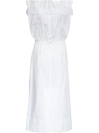 Patou White Cotton Poplin Dress With Bow