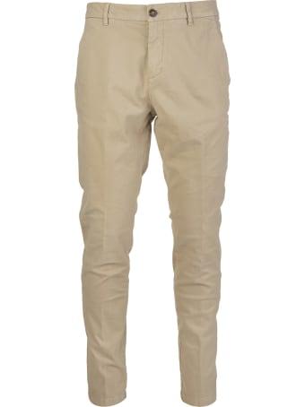 Cruna Marais Slim Fit Trousers In Beige Stretch Cotton Gabardine