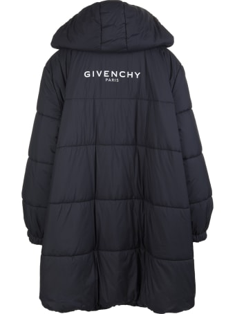 Givenchy Woman Black Flared Down Jacket With Givenchy Logo