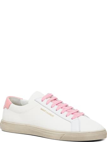 Saint Laurent Andy Low White And Pink Fabric Sneakers