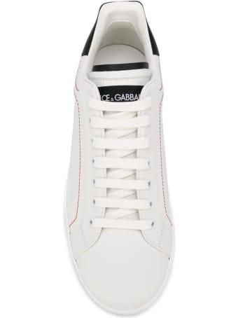 Dolce & Gabbana White And Black Portofino Leather Sneakers