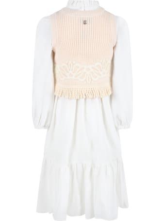 Ermanno Scervino Junior White Dress For Girl