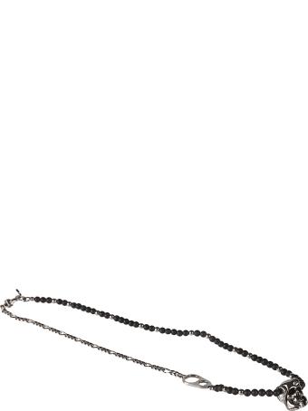 Alexander McQueen Beads & Skull Chain Short Bracelet