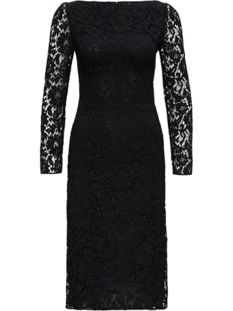 Valentino Long Dress In Black Lace