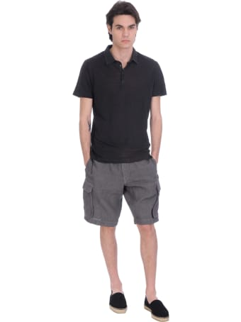 120% Lino Polo In Black Linen