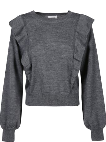 See by Chloé Ruffle Detail Plain Ribbed Sweater