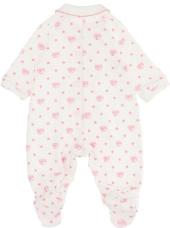 Chiara Ferragni White And Pink Cotton Logomania Onesie