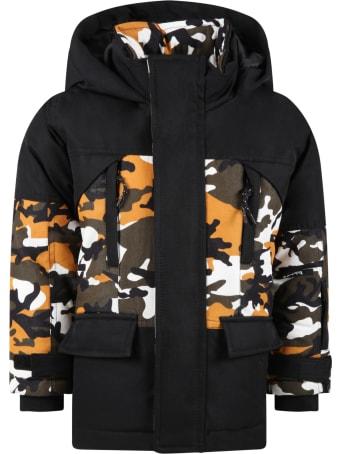 Timberland Black Jacket For Boy With White Logo