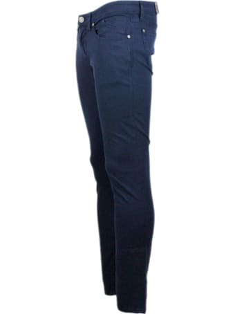 Jeckerson 5-pocket Trousers In Stretch Textured Cotton With Zip With Slim Fit