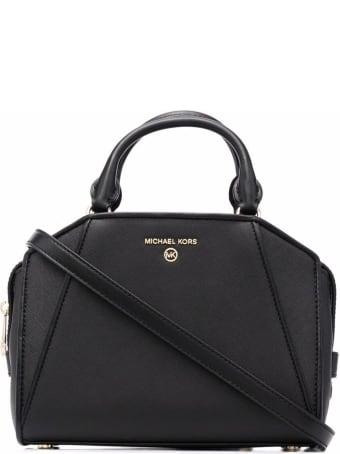 MICHAEL Michael Kors Cleo Top-handle Tote Bag In Black Leather