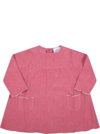 Le Petit Coco Pink Dress For Baby Girl With White Profiles