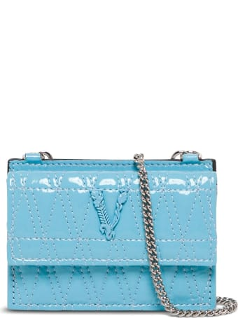 Versace Quilted Blue Glossy Leather Card Holder