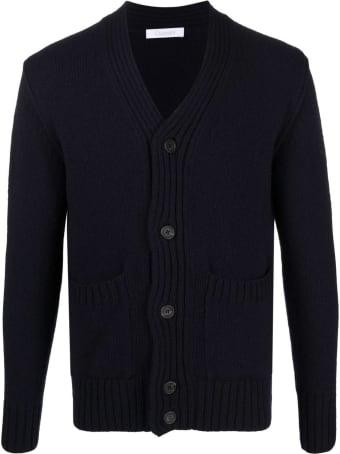 Cruciani Blue Cashmere-wool Blend Cardigan
