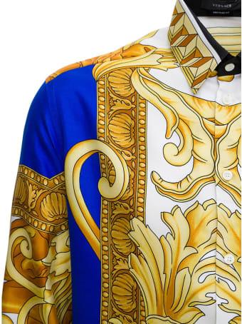 Versace Camicie Tessuto Twill Di Seta Stampa Medusa Renaissance