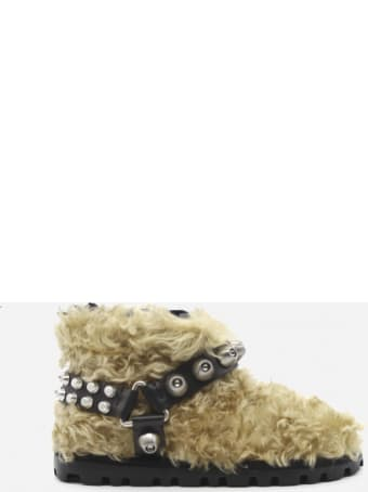 Miu Miu Shearling Ankle Boots With Leather Straps