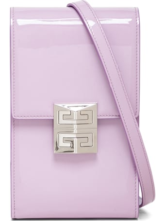 Givenchy Vertical 4g Crossbody Bag In Lilac Patent Leather