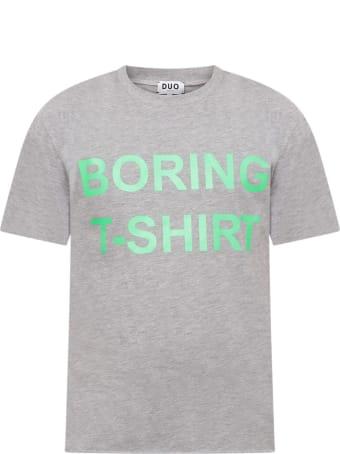 Natasha Zinko Grey T-shirt For Boy With Neon Green Print
