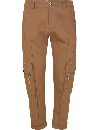 Les Hommes Cotton Twill Cargo Trousers