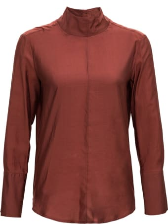 Tela Brown Silk Blend Blouse With Back Buttons