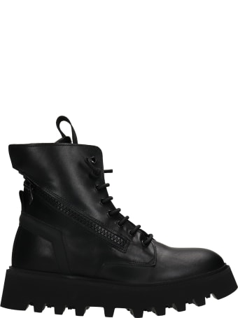 Bruno Bordese Pray Combat Boots In Black Leather