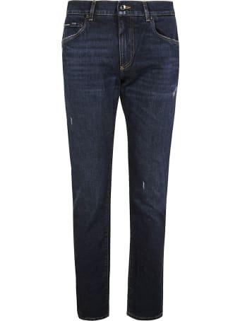 Dolce & Gabbana Regular Logo Patched Jeans