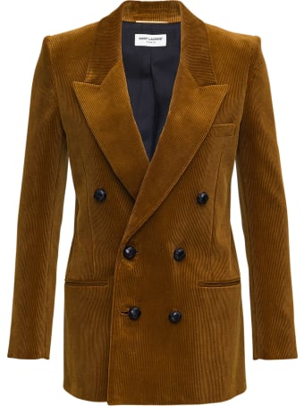 Saint Laurent Double-breasted Blazer In Brown Suede Leather