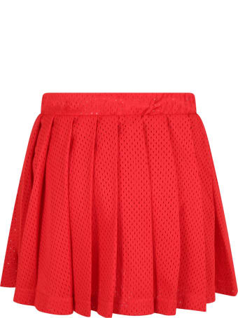 Raquette Red Shorts For Girl With White Logo