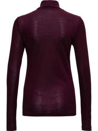 Tela Burgundy Colored Cotton Turtleneck