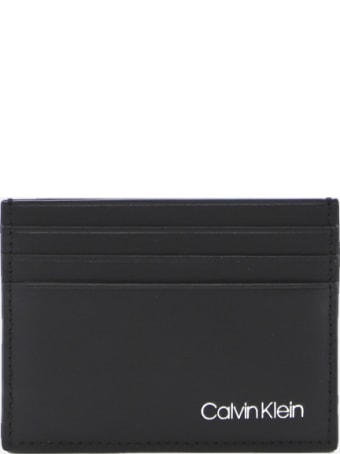 Calvin Klein Leather Card Holder With Embossed Logo