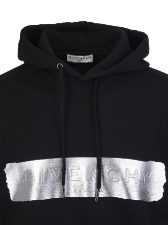 Givenchy Man Black Hoodie With Givenchy Stripe In Silver Latex