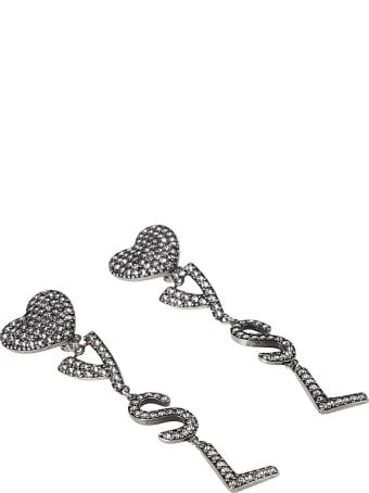 Saint Laurent Crystal Embellished Heart Logo Earrings