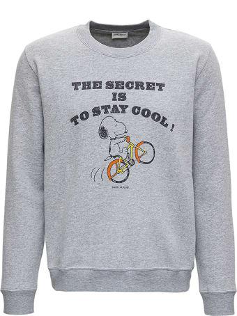 Saint Laurent Snoopy Grey Cotton Sweatshirt