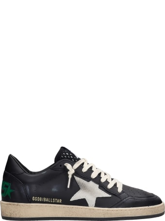 Golden Goose Ball Star Sneakers In Black Leather