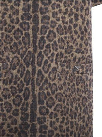 Valentino Virgin Wool Dress With All-over Animalier Print
