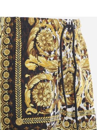 Versace Nylon Swim Shorts With All-over Wild Baroque Print