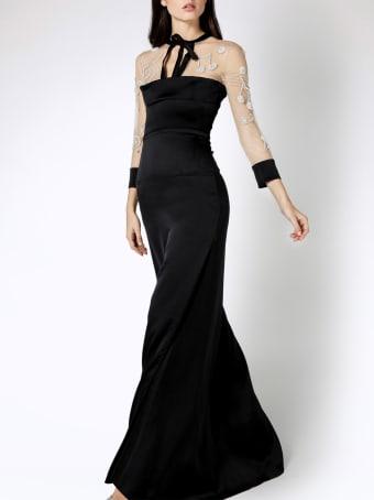 Genny Crystal-embellished Black Long Dress