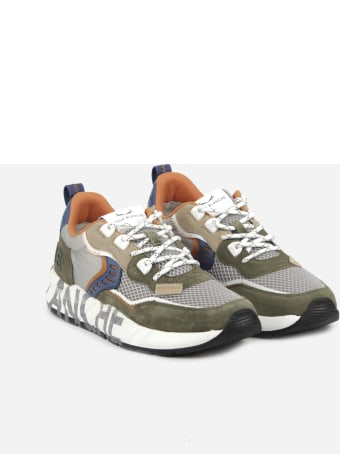 Voile Blanche Technical Mesh And Suede Sneakers With Contrasting Logo Print