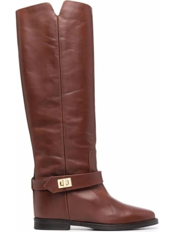 Via Roma 15 High Boot In Brown Leather