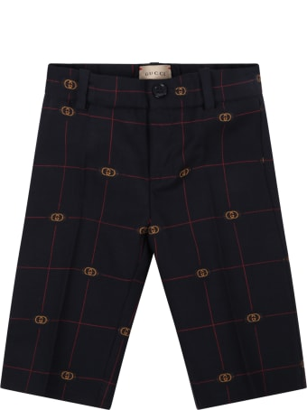 Gucci Blue Trousers For Baby Boy With Logo