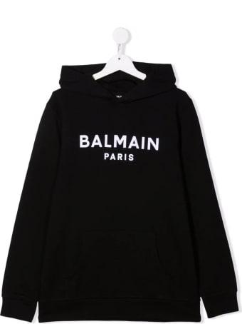 Balmain Kids Black Hoodie With White Velvet Logo