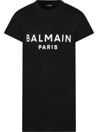 Balmain Black Dress For Girl With Logo