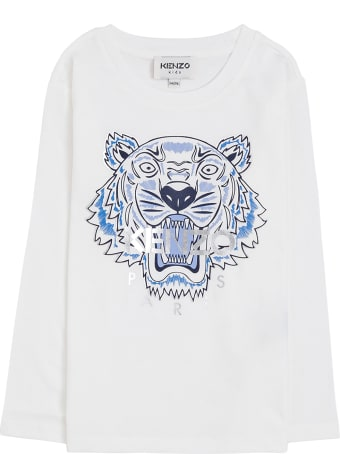 Kenzo Kids Long Sleeved T-shirt With Tiger Print