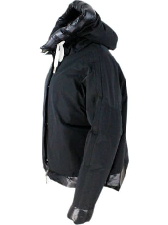 Montecore Short Trapeze Oversized Down Jacket With Reversible Hood In Bi-material Nylon And Technical Fabric
