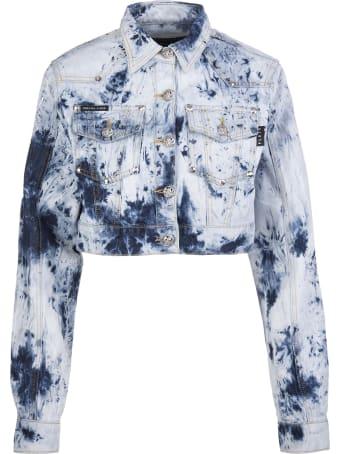 Philipp Plein Woman Bleached Denim Jacket
