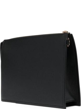 Versace Black Leather Handbag With Golden Metal Medusa Detail