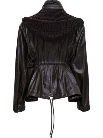 Bottega Veneta Brown Leather Jacket With Hourglass Line