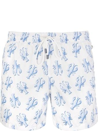 Fedeli White And Light Blue Lobster Madeira Man Swimsuit