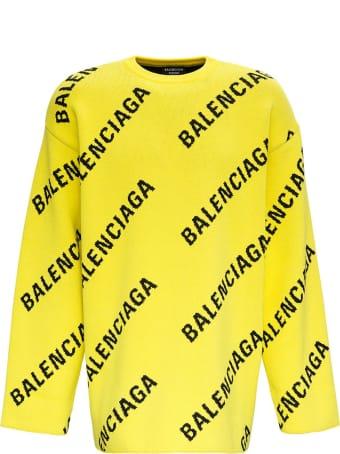 Balenciaga Cotton Sweater With Allover Logo