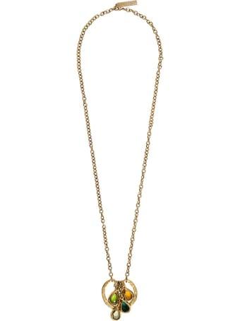 Alberta Ferretti Gold-colored Metal Necklace With Multicolor Crystals